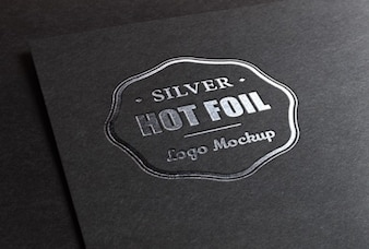 Logo mockup with metallic foil printing