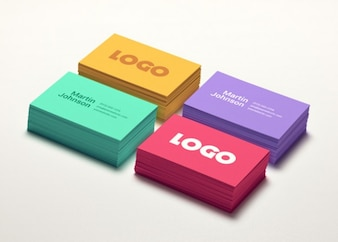 Business card mockups in four colors
