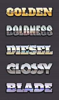 Metallic text styles