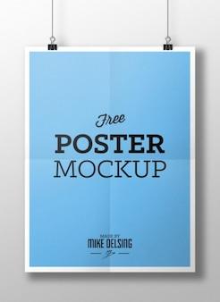 Blue poster mockup PSD