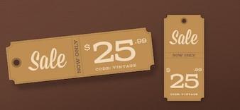 Vintage sale tags PSD