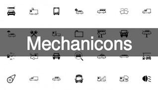 Mechanic and motor icons