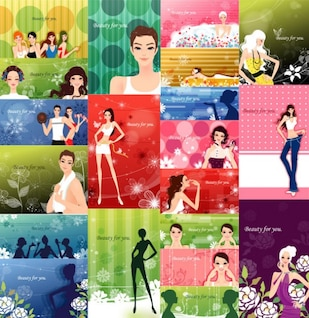 fashion women and patterns of plant vector material
