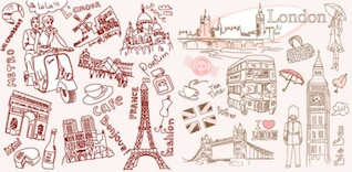 paris and london line drawing vector