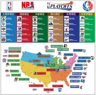nba team logo and maps vector