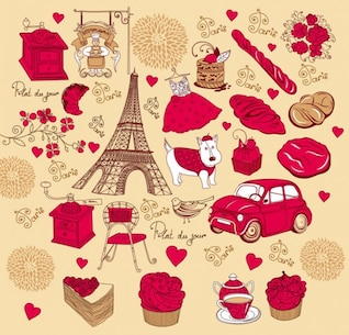 rose red french theme vector material