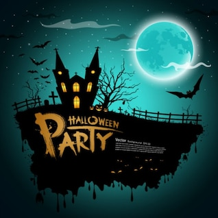 Halloween House Party Cartoon Vector