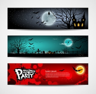Halloween Banners Design Vector Set