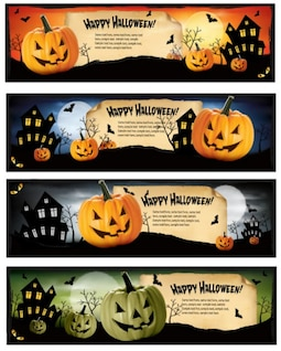 Halloween Pumpkin Banners Vector Set