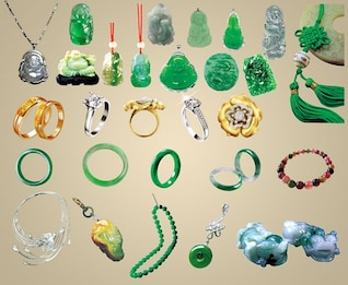jewelry of all kinds of jade ornaments psd material summary