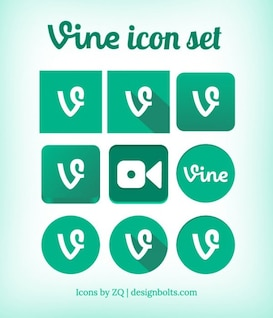 Vine icons collection in green color