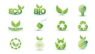 free green eco icon set
