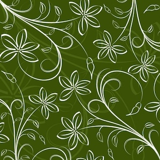 white floral design in green background
