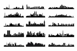 City skyline silhouettes vector kit