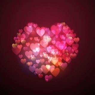 Valentine hearts shaped vector background