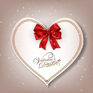 Paper heart with red ribbon. Valentine's day.