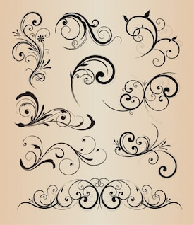 Swirly floral elements vector pack