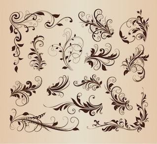 Swirly floral elements in vintage design