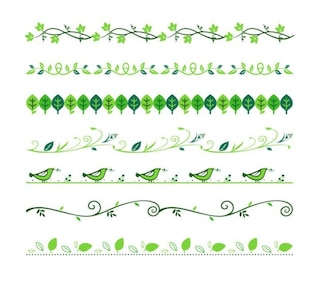Green floral dividers vector set