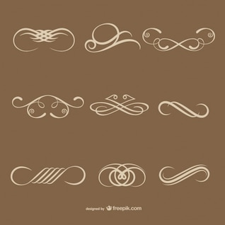 Simple calligraphic decorative elements