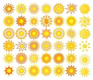 sun elements collection vector