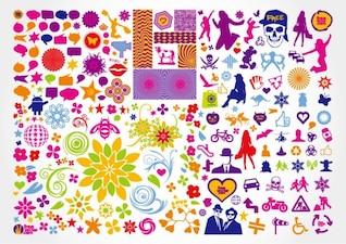 free vector illustration elements mixed set