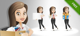 Businesswoman posing cartoon vector set