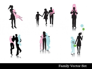 Family silhouettes shadow dance black white smart life vector free background