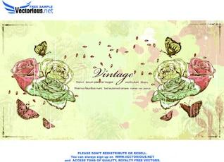 Vintage roses grunge background vector