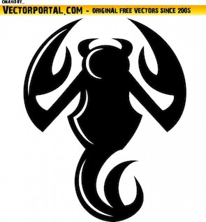 Black scorpion illustration with devil tail