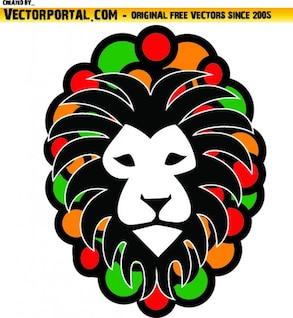 Lion head with rastafari colors