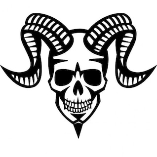 Smiling skull with ram horns