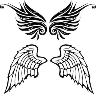 Drawn wings angel and tribal style vector set