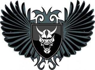 Devil shield with wings icon vector