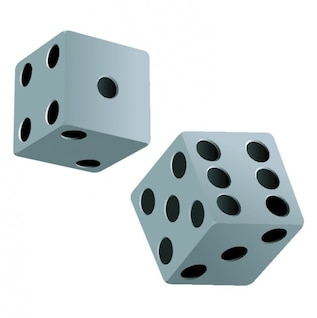Couple of dices in black and white