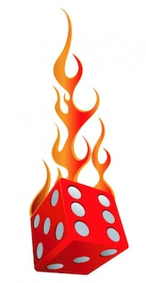 Red dice in flames