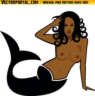 Brunette siren naked draft vector