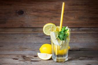A glass of homemade Mint lemonade