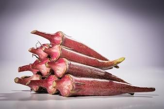 A heap of red okra