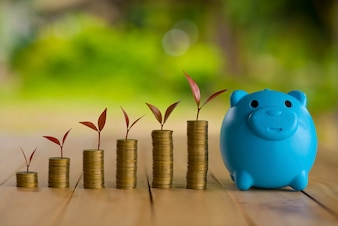 A piggy bank put on the stacking gold coins and blackboard house and clock on the vintage blue background, saving money for buy a new real estate or loan for planned investment in the future concept.