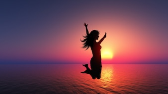 A woman jumping, sunset