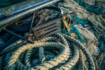 Abstract background with a pile of fishing nets ready to be cast