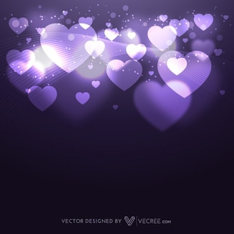 Abstract background with lights and hearts