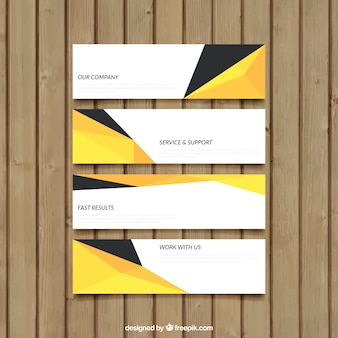 Abstract banners in yellow and black colors