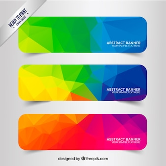 Abstract banners with colorful polygons