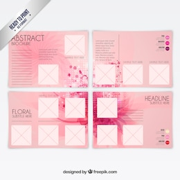 Abstract brochure in pink color