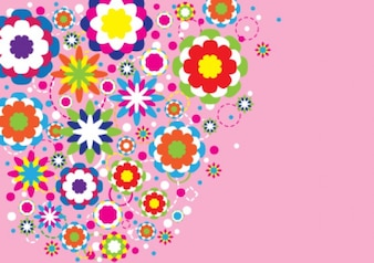 abstract colorful flowers design