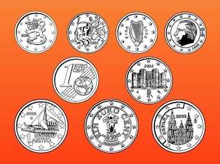Abstract Euro coins and currency vector
