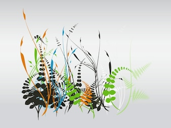 Abstract garden plant leaves vector