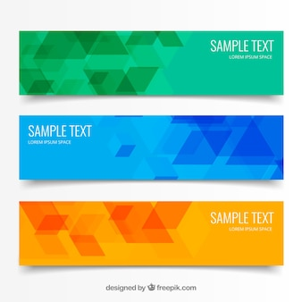 Abstract geometric triangular banners